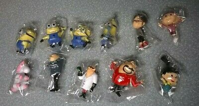 11 Despicable Me 2 figures, Minions, Gru, girls & others, about 2 inches tall