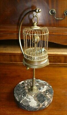 Very Unusual Vintage Moving Bird In Cage Clock On Marble Base
