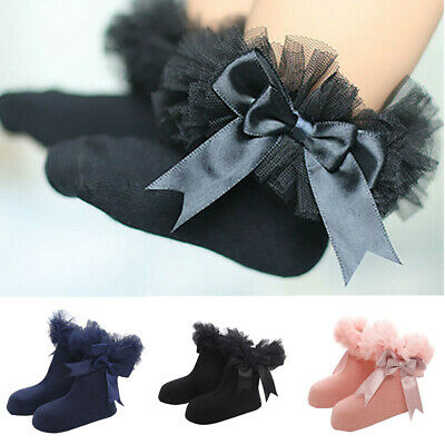 Socks Princess Ankle Baby Sock Kids Bowknot Girls Frilly Trim Ruffle Infant Lace