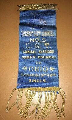 Vintage 1894 Forest City Grand Council Ribbon Pin Cleveland Ohio Annual Session