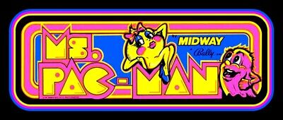 """BIG 6"""" Vintage style Ms. Pac-Man vinyl sticker. 80's console video game decal."""