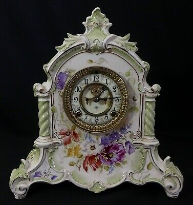 Antique ANSONIA Open Escapement Movement + ROYAL BONN Porcelain Case. 1882