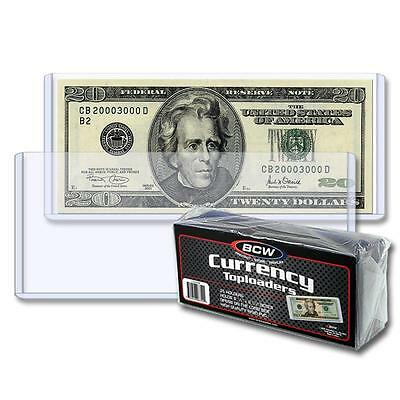 5 loose  BCW 6.5 x 3 Currency Dollar Bill Topload Holder Storage Protection
