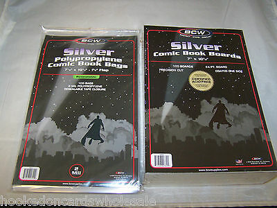 """100 Each BCW 7 1/8"""" Silver Age Regular Resealable Comic Bags & 7"""" Backer Boards"""