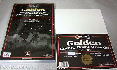 "10 Each BCW Brand 7 5/8"" Golden Age Comic Bags & Boards"