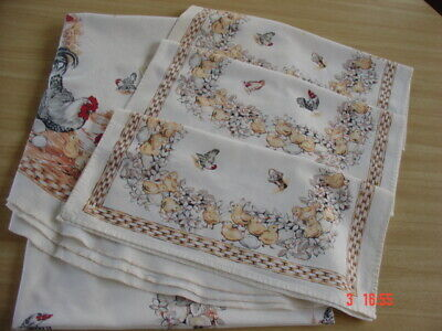 "Vtg Cotton Tablecloth/Napkins ~ Chickens in the Barnyard ~ 60"" x 80"" A ""Cutter"""