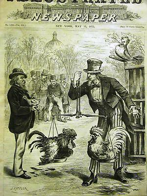 Keppler UNCLE SAM COCK FIGHT 1875 COCHRAN Cartoon Art Print Matted