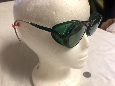 Vintage Steampunk Green Lense Welding Safety Goggles Motorcycle Aviator Folding