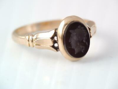 Antique Victorian 10K Rose Gold Carved Carnelian Intaglio Wax Seal Stamp Ring