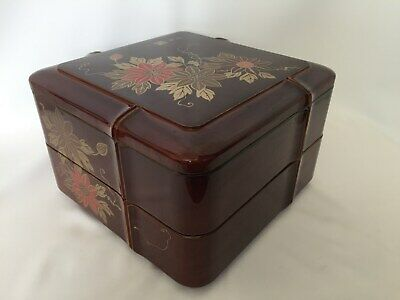 Japanese  Vintage Lacquer ware FOOD BOXES Jubako Floral Two-steps Tea Ceremony