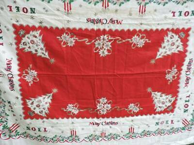 SWEET VINTAGE CHRISTMAS TABLECLOTH ~NOEL~DECORATED TREES~XLG 58 x 80