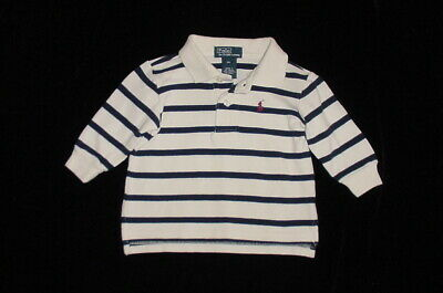 EUC Ralph Lauren Boys Off White & Blue Striped Long Sleeve Polo Shirt 9 Months