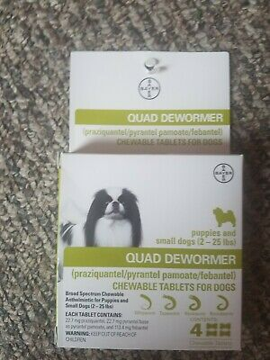 Bayer Quad Dewormer for Puppies and Small Dogs 2-25lbs (4 Chew Tabs) tablet