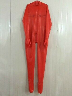 New 100% Latex Gummi Red Overall Catsuit Cool Foot Zipper Tight Bodysuit S-XXL