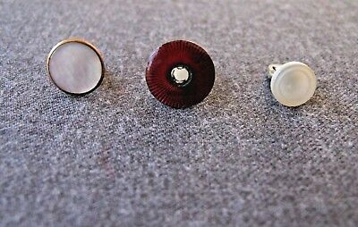 3 ANTIQUE ASSORTED MOP MOTHER OF PEARL & ENAMELED METAL BUTTONS  w&a