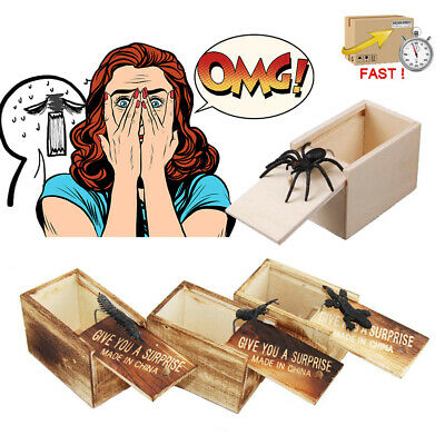 2019 Toy Scare Box Wooden Prank Spider Funny Trick Play Joke Gift Hidden In Case