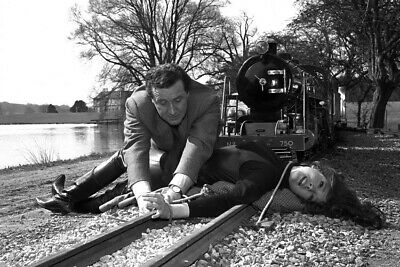 The Avengers Diana Rigg Patrick Macnee tied to train track 24X36 Poster