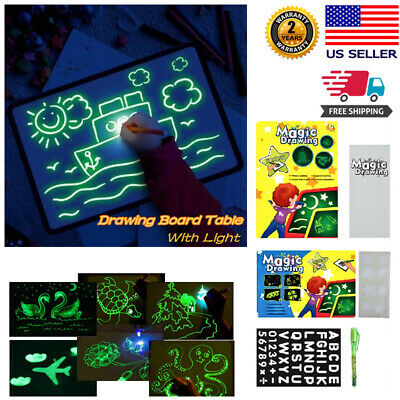 Kids Draw With Light Fun And Developing Magic Drawing Board Pad Draw Tablet Gift