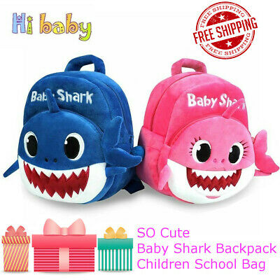 Baby School Shark Backpack Plush Doll Cartoon Animal Bag Boy & Gril Kids Gift