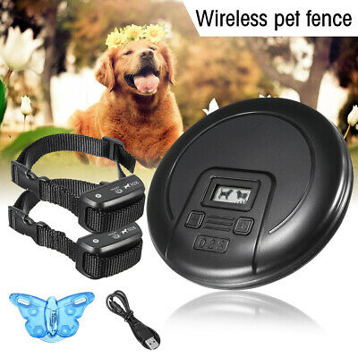 Wireless Electric Pet Fence Waterproof Training Containment 2 Dog System