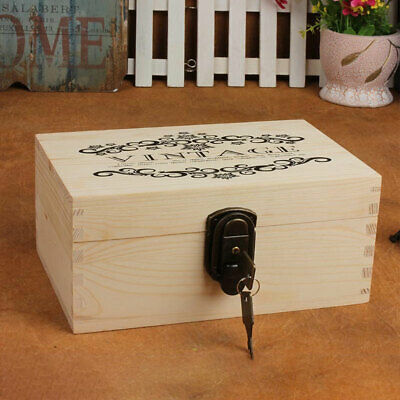 Office Wooden Lockable Living Room Vintage Style Storage Box Safe Stationery
