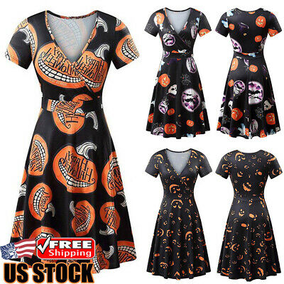 Women Short Sleeve Halloween Pumpkin Skater Dress Evening Party Mini Swing Dress
