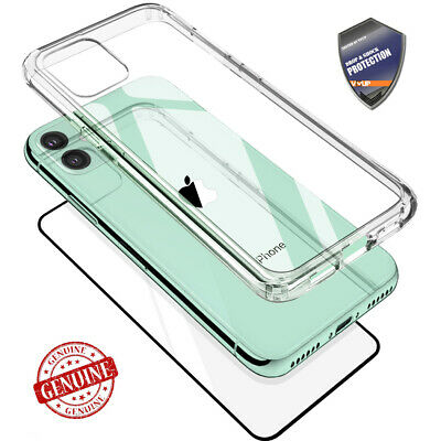 For iPhone 11, 11 Pro, 11 Pro Max Case VVUP [ Dual-Line ] Hybrid 9H Glass Screen