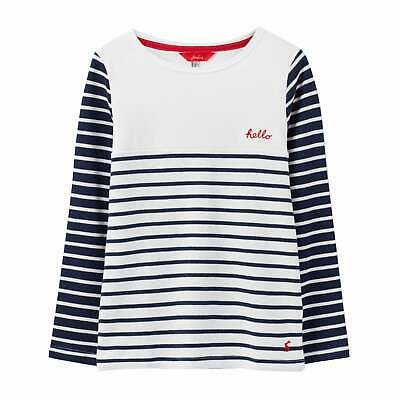 Joules Harbour Luxe Jersey Girls T-shirt Top - Navy Chest Stripe All Sizes