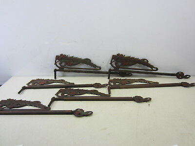 6 Antique Ornate Swing Out Sliding Curtain Rods- (no brackets)