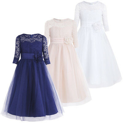UK Flower Girls Dress Bridesmaid Pageant Wedding Princess Formal Party Lace Gown