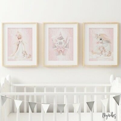 Baby, Girl Nursery Wall Art Prints Princess, Unicorn, Castle, Floral, set of 3