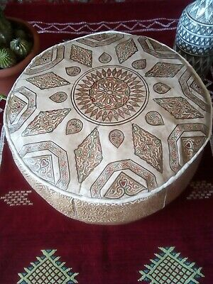 """Large Moroccan handmade leather Pouf D20""""X H12.6"""" Footstool Ottoman pouffe"""