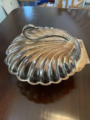 Vintage Leonard Silver-Plate Footed Hindged Swan Sea Shell Shaped Warmer