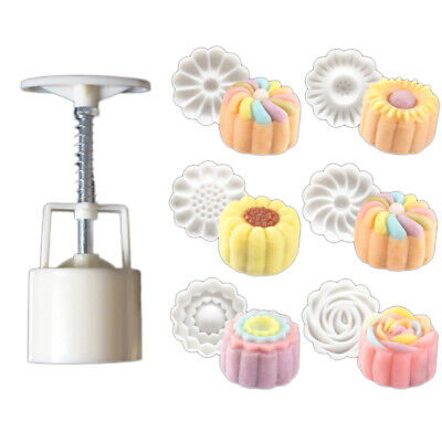 6 Rose Flower Stamps Moon Cake Decor Mould Hand DIY Tool Round Mooncake Mold