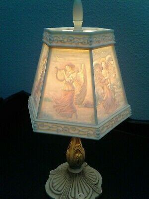 Vintage Angel Lamp Plastic Painted Shade Beautiful Lighted Art Fast Shipping!