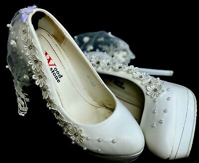 White High Heels Bridal Shoes For Wedding With Crystal Flower & Small Veil, Prom