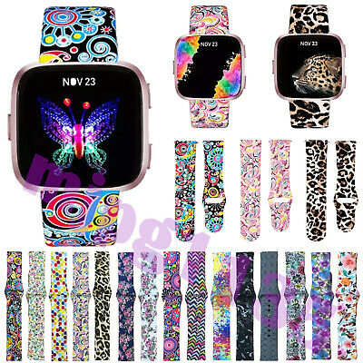 For Fitbit Versa Printed Silicone Smart Watch Replacement Band Strap Large Small