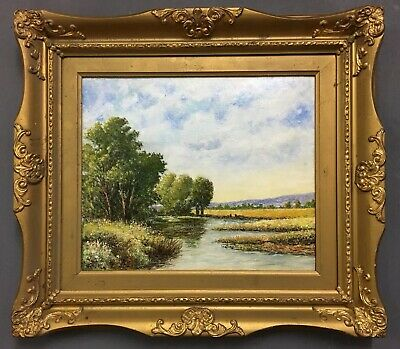 Antique Oil On Canvas Painting In Gold Gilt Frame, Signed