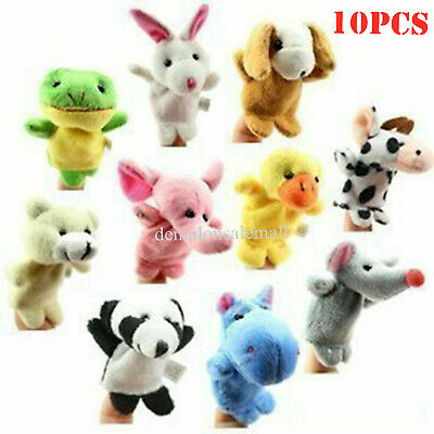 10PCS/set Cartoon Animal Finger Puppets Cloth Dolls Educational Baby Toys New
