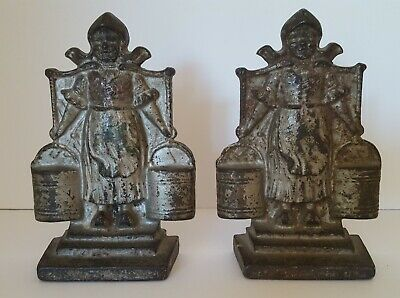 Pair Of Old Cast Iron Bookends Dutch Girl Milkmaids Victorian Vintage Antique