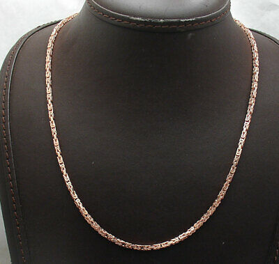 """18"""" Technibond Square Byzantine Link Chain Necklace 14K Rose Gold Clad Silver"""