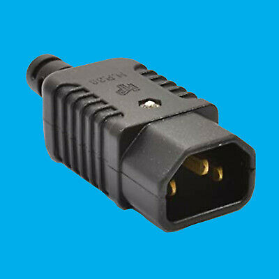 3 Pin IEC Male Kettle Socket Rewireable IEC C14 Straight Plug Adapter Converter