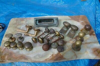 Salvaged Antique Collection Of Victorian Brass Door Handles Letter Box Job Lot