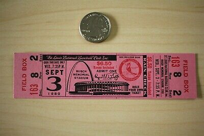 1980 St Louis Cardinals Cincinnati Reds 9-3-80 Busch Stadium Ticket Stub
