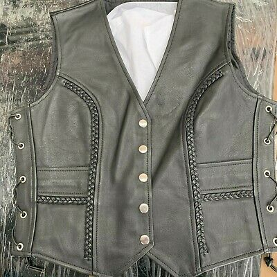 Womens Leather Motorcycle Waistcoat SIZE 8