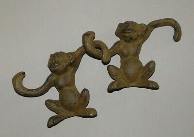 Pair of Vintage Cast Iron Monkey Plant Hooks Barrel of Monkeys, S-Hooks, Hanger