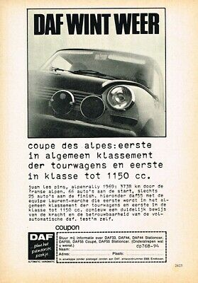 1969 DAF 55 Coupe Des Alpes Rally (NL, 1pg.) Advertisement