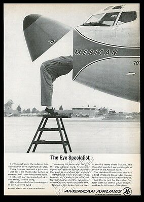 1963 American Airlines plane radar dome cleaning photo vintage print ad
