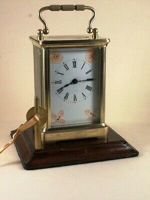Antique brass carriage clock & key. Restored and serviced early this month