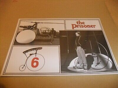 PATRICK McGOOHAN THE PRISONER ARRIVAL POSTCARD HELICOPTER PENNY FARTHING